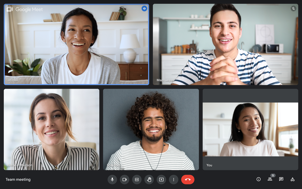 Screen showing a five-person video call in progress on Google Meet.