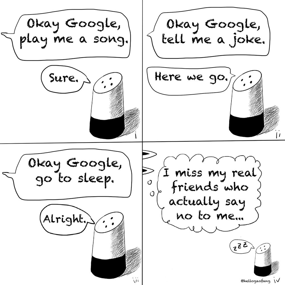 A comic featuring the Google Assistant by Gao Fang