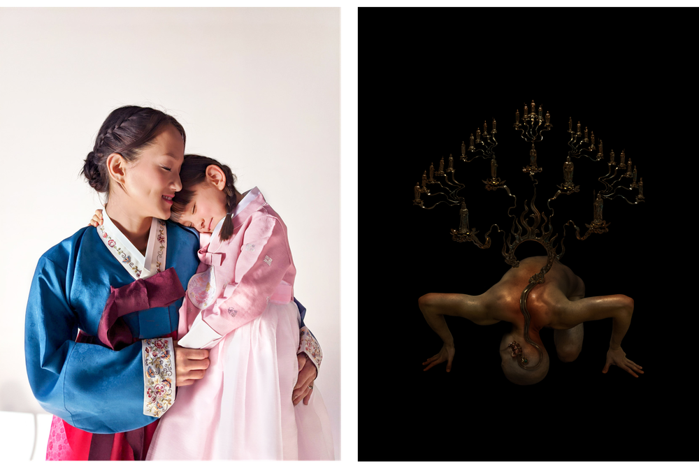 Two photos next to one another; the first is of a mother and daughter embracing wearing traditional Korea Hanboks. The second is of a person bent over facing the ground against a dark background with Chinese lettering against the background.