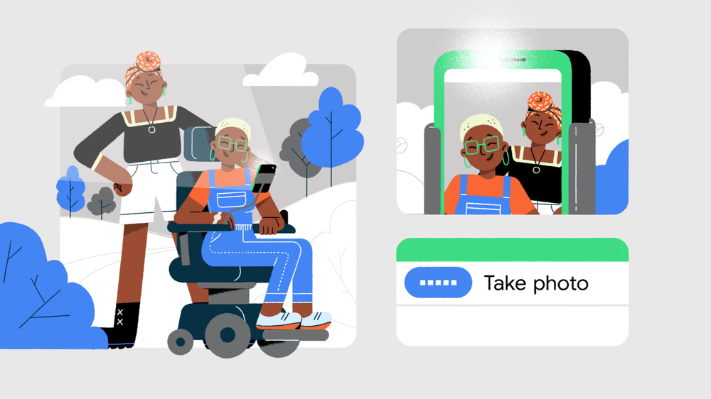 Easily use and navigate your phone by speaking out loud with Voice Access. Image shows two cartoon figures, one who uses a wheelchair and has their phone mounted in front of them, and another standing behind the wheelchair as they take a selfie.