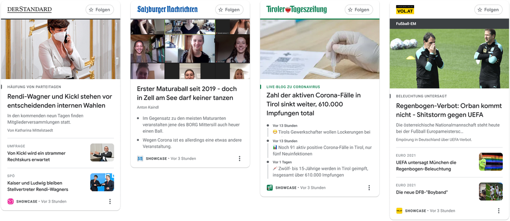 This image shows examples of how News Showcase panels will look with some of our partners in Austria including  Der Standard, Salzburger Nachrichten, and Tiroler Tageszeitung/ Moser Holding