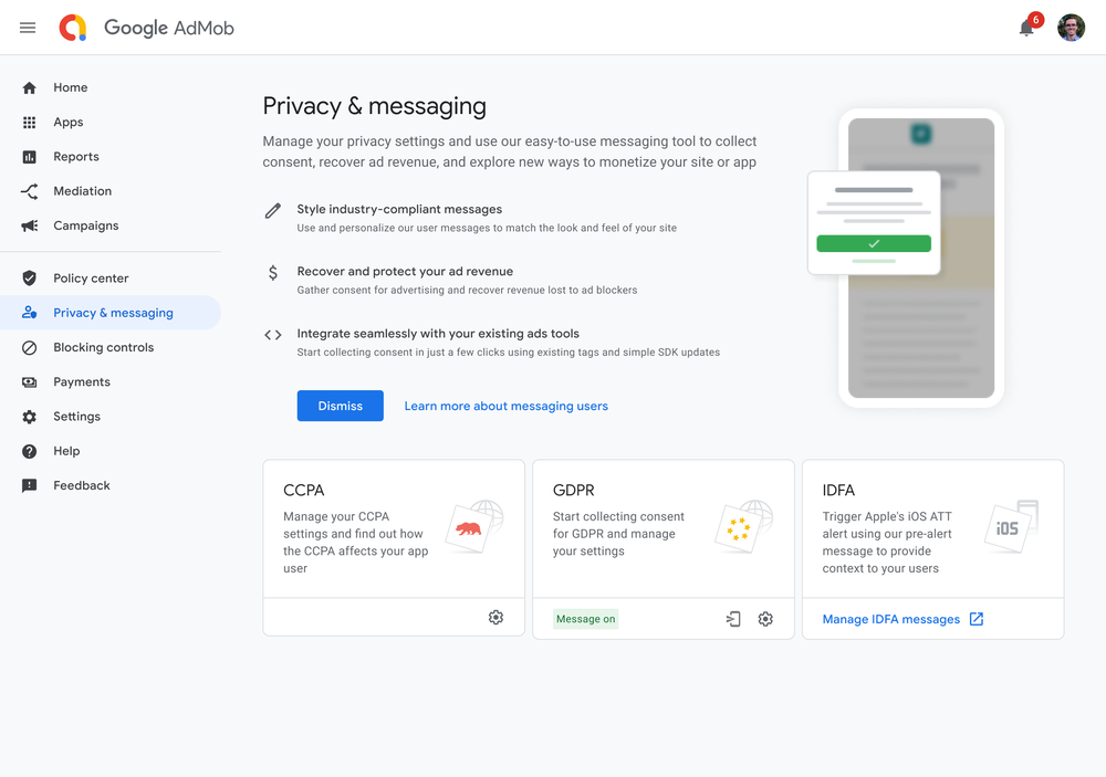 A product screenshot about the Privacy & messaging tab in AdMob that shows you how to view relevant regulations and the actions you can take to stay compliant
