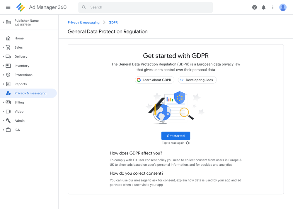 General Data Protection Regulation educational card in the Google Ad Manager user interface