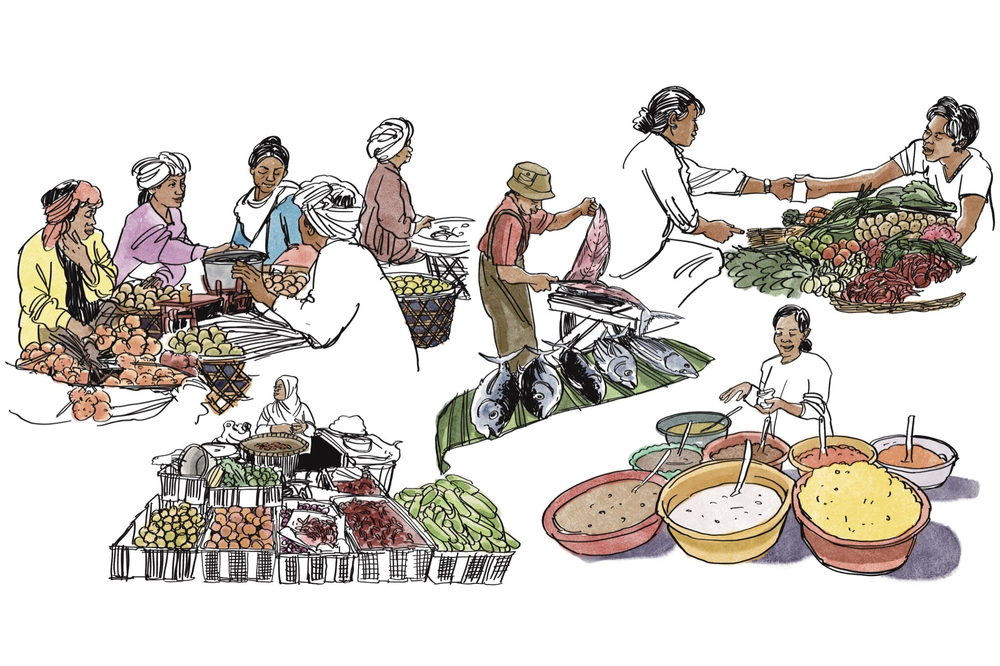 An illustration of the people who have a part in Indonesian gastronomy.