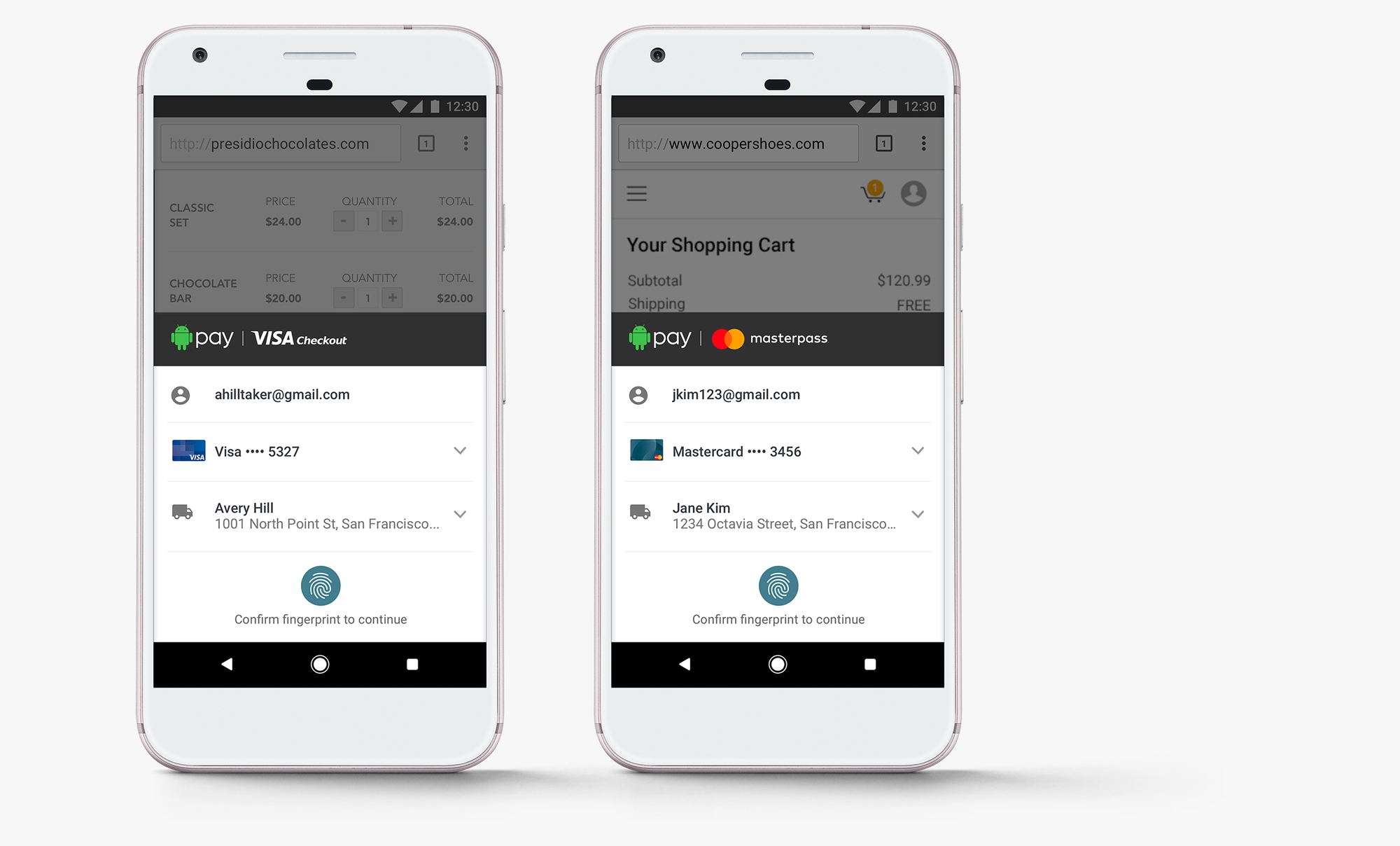 Android Pay with Visa Checkout and MasterCard Masterpass