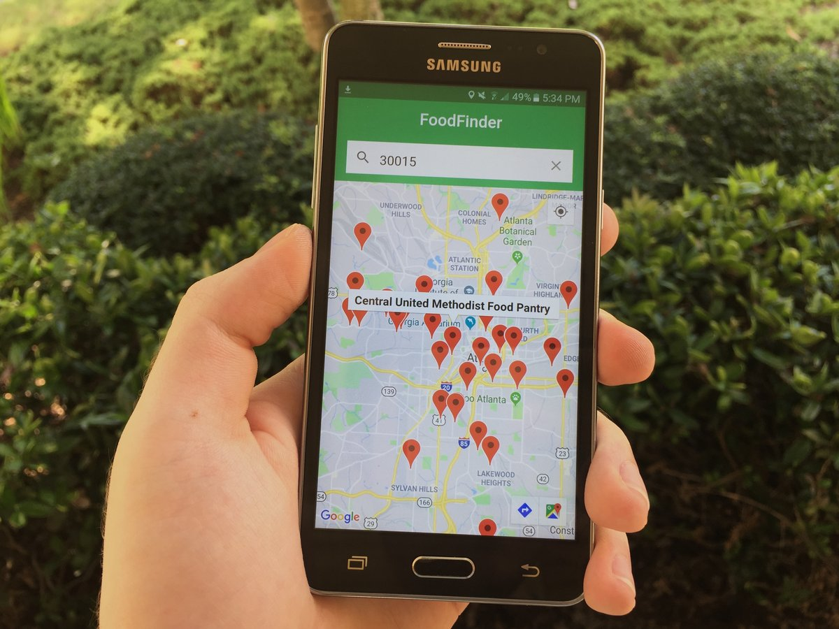 FoodFinder on an Android phone