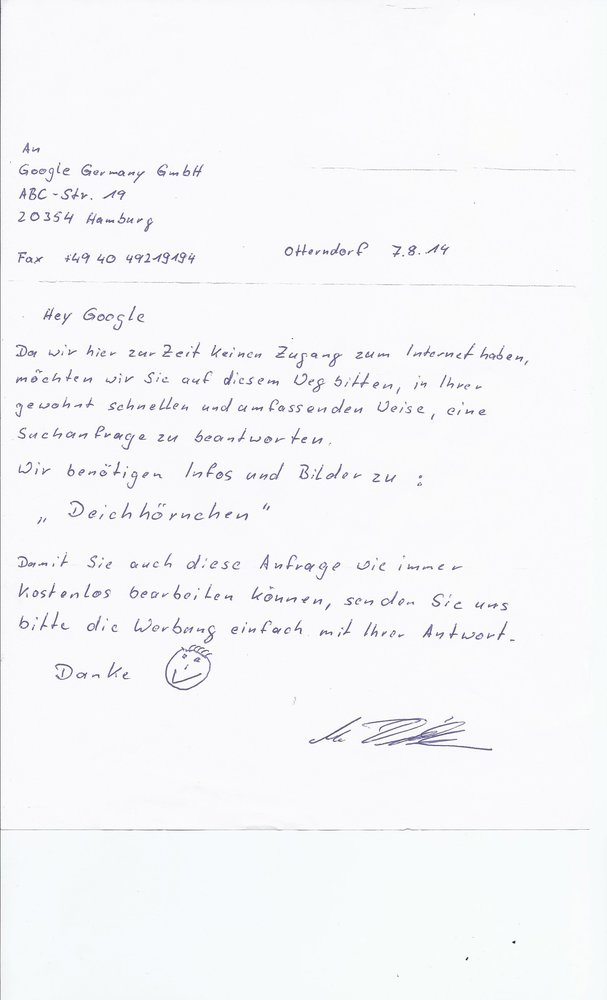 Bild zeigt einen handgeschriebenen Brief mit der Anfrage an Google