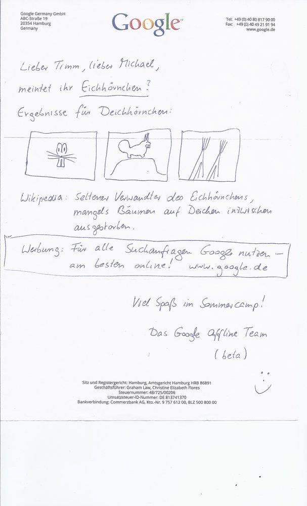 Das Bild zeigt das handgeschriebene Antwort-Schreiben von Google auf den Brief