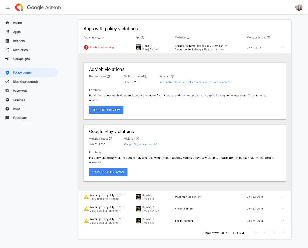 Google AdMob App Policy Center