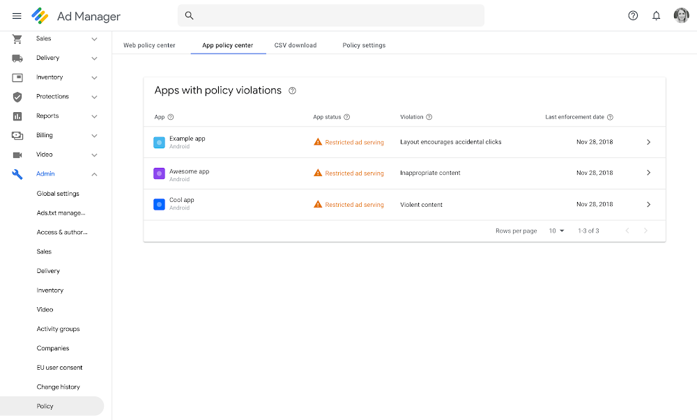 Google Ad Manager App Policy Center