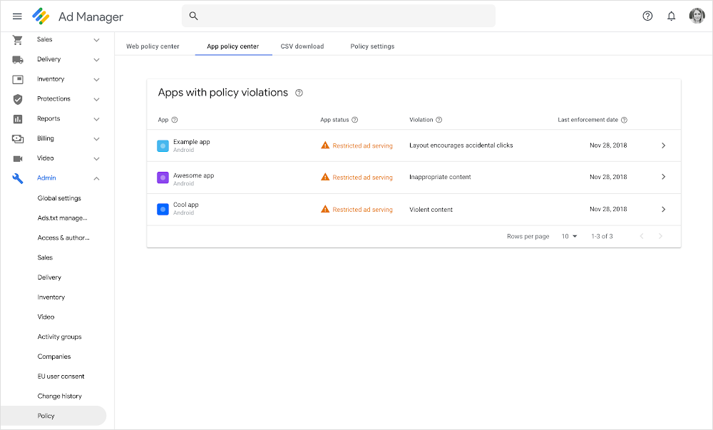 App Policy Center