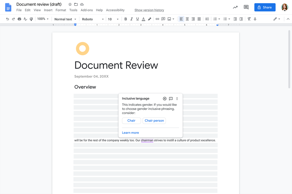"""Image showing a screenshot of a Google Doc with an open Doc that says """"document review"""" at the top. A dialog pop up hovers over part of the page with inclusive language suggestions."""