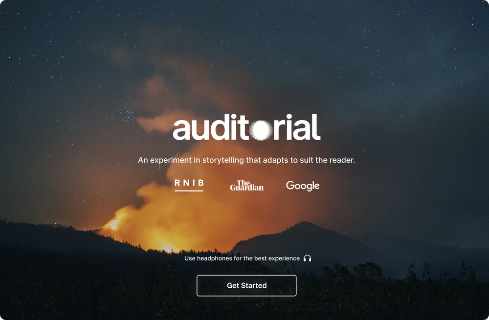 The landing page of the Auditorial experience, welcomes readers to 'an experiment in storytelling that adapts to suit the reader'.