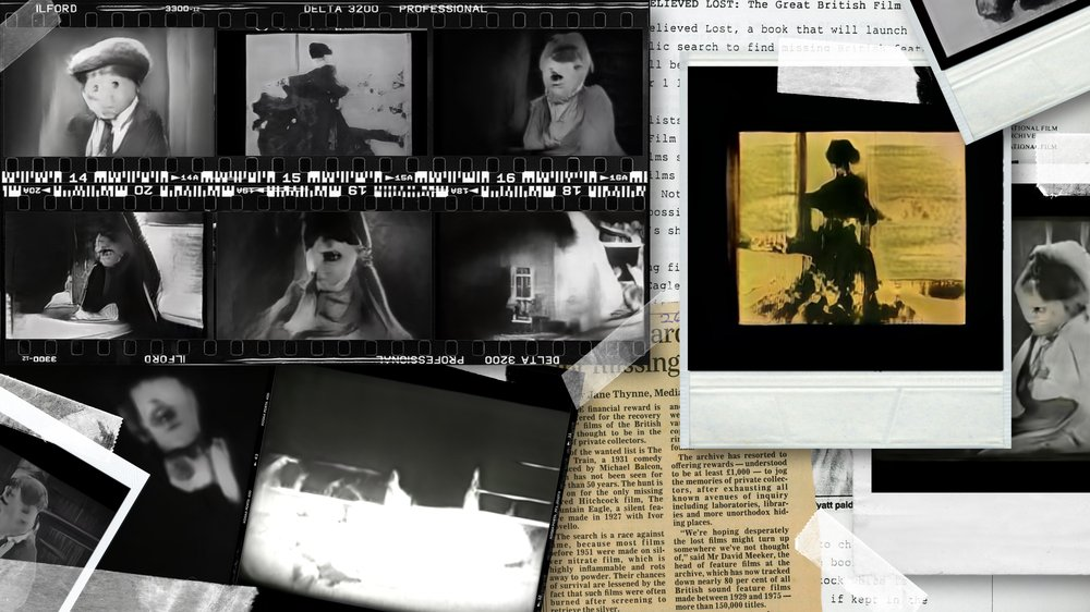 A collage of images, in the style of old cinema film