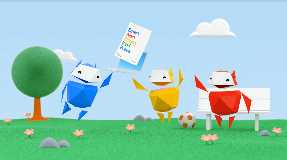 Animated characters in a field with the Be Internet Awesome curriculum on a laptop.