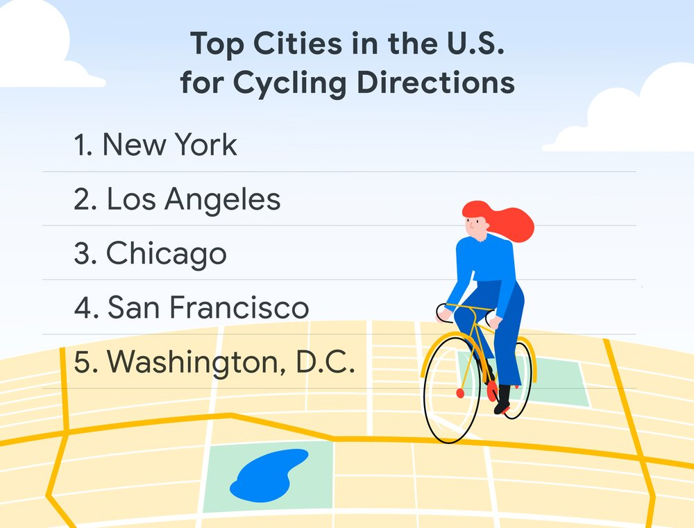 Top US cities for biking on Maps