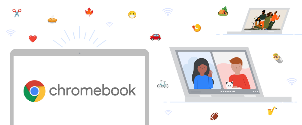 Animation shows three Chromebooks, one with the Chromebook logo, another in a video chat, and another with a wallpaper for our new collection. The background has several emoji and Wi-Fi signal icons floating around.