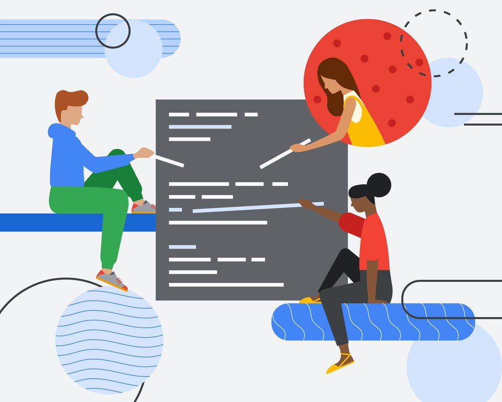 Abstract illustration of three people putting together code.