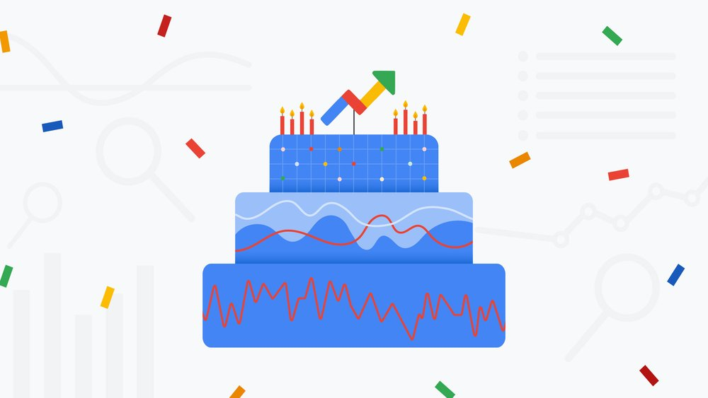 Illustration of a birthday cake with abstract illustrations of charts and graphs in it. A Google Trends arrow icon is on top of the cake.