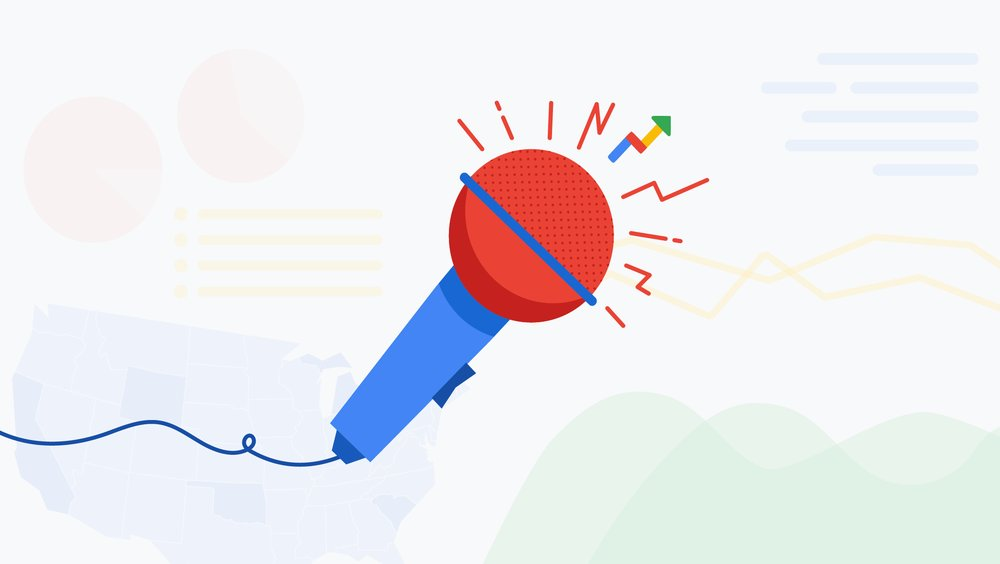 Illustration of a microphone with abstract chart icons, and a Google Trends arrow icon at the top of it.