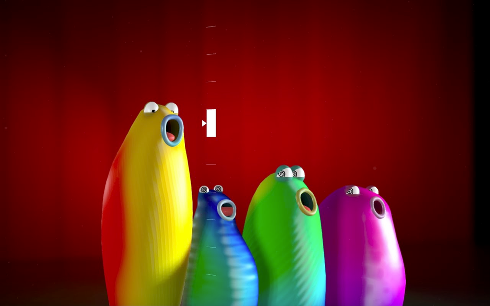 4 colorful blobs singing in front of a red curtain