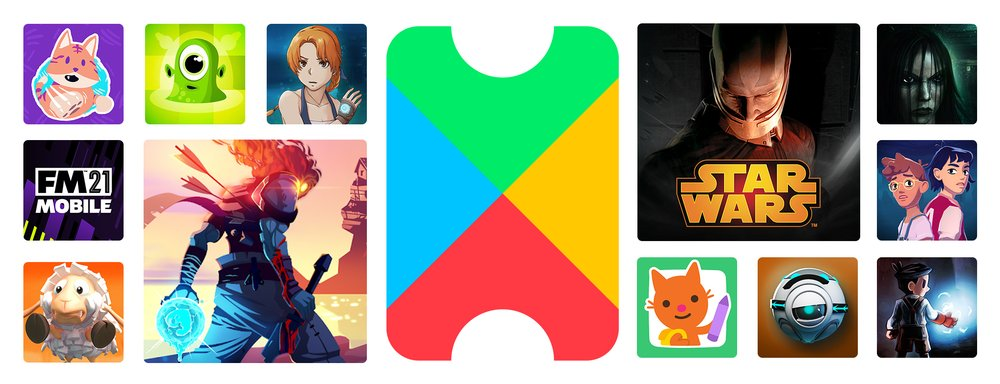 Icons from several games included on Google Play, with the Google Play Pass logo in the center.