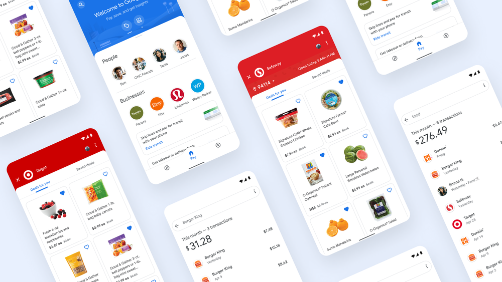 "Various Google Pay app screens which show grocery deals at Target and Safeway, the new transit spot in the app, and searches for ""food"" and ""burger king"" with transactions that match each search."