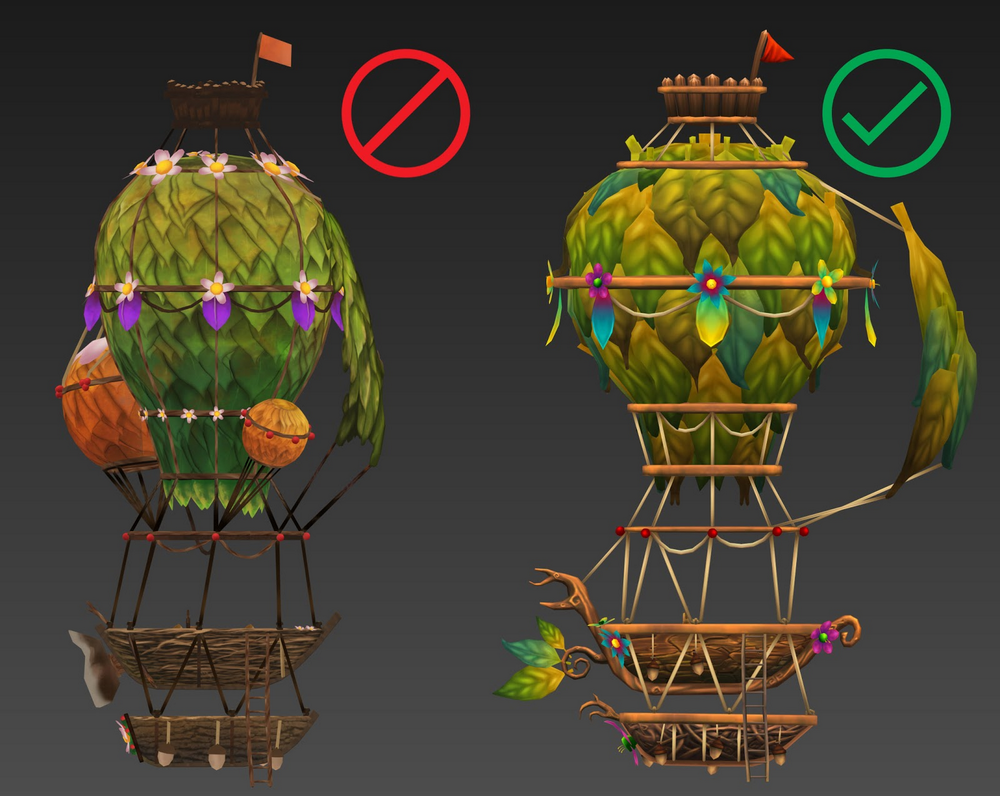 A model of a wooden structure with a large balloon covered in leaves and other decorations.