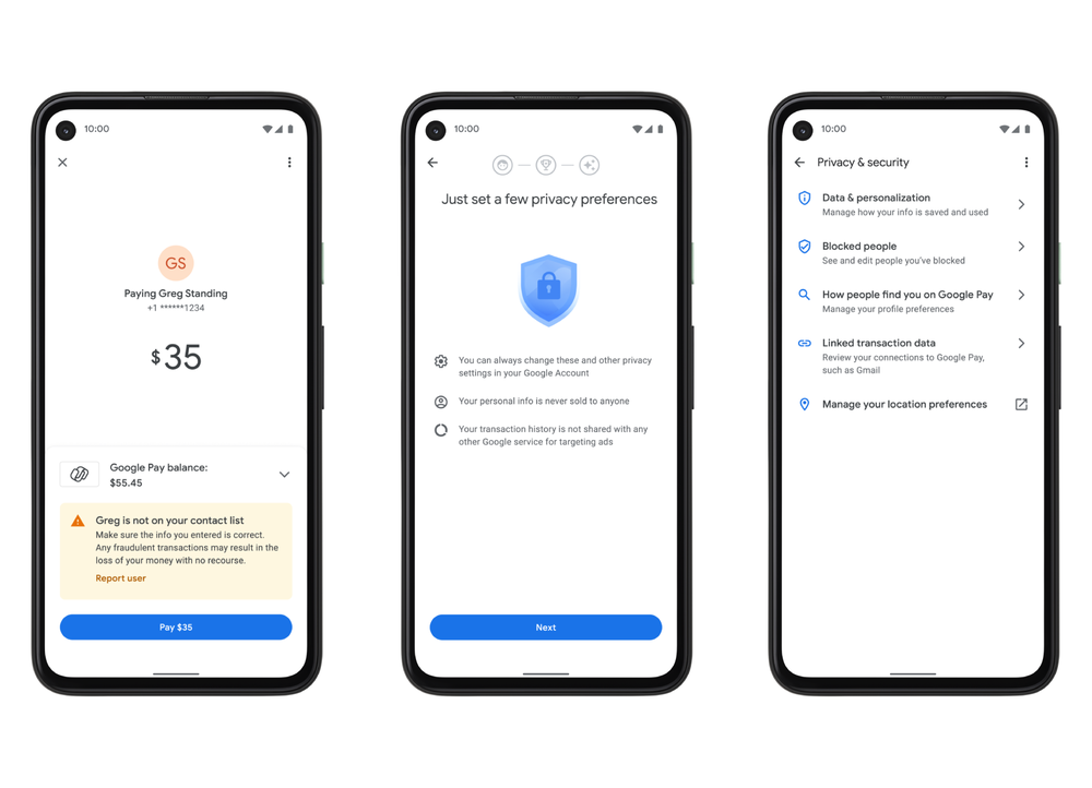 Privacy and security settings within Google Pay