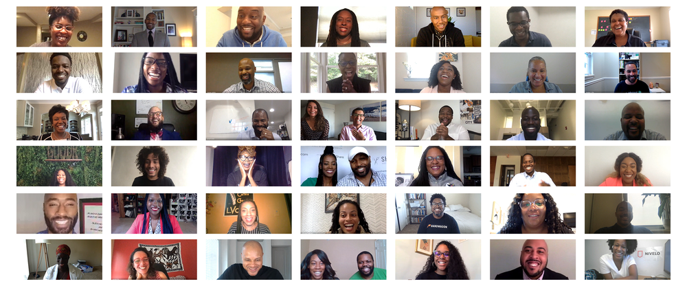 Image of recipients of the Google for Startups Black Founders Fund gathered in a Google Meet video meeting.