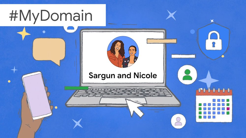 An illustration showing Sargun and Nicole's faces and names on a laptop screen, surrounded by logos symbolizing productivity.