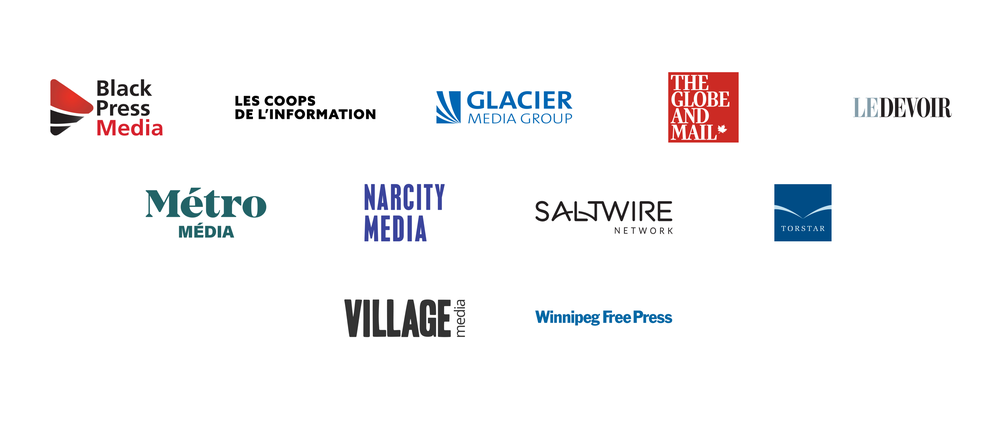 An image showing the logos of some of our News Showcase partners in Canada including Les coops de l'Information, Le Devoir and Torstar, Black Press Media, Glacier Media, The Globe and Mail, Métro Média, Narcity Media, Saltwire Network, Village Media and Winnipeg Free Press