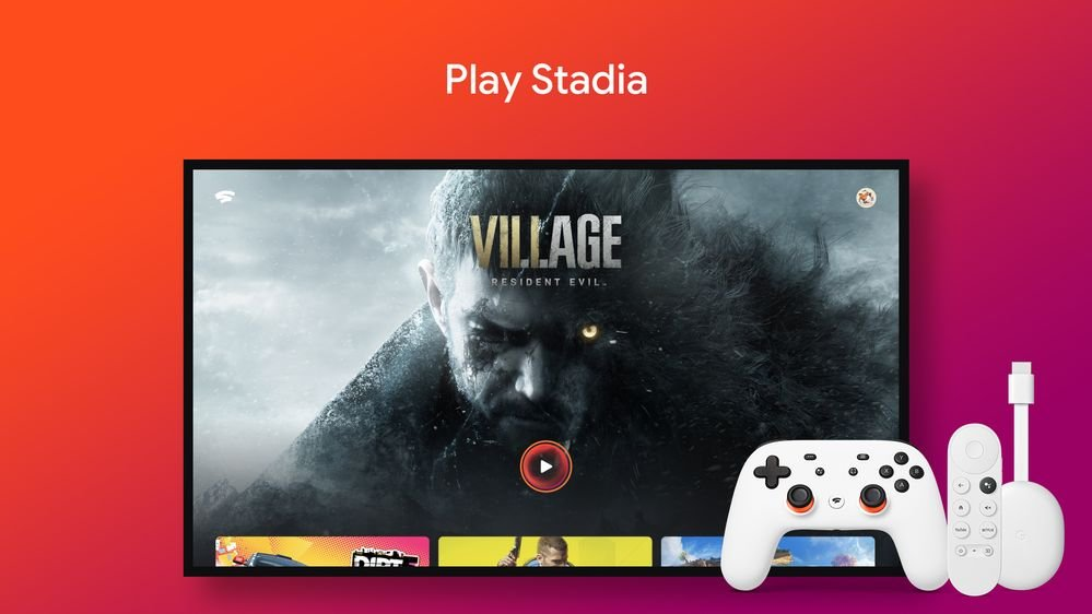 Stadia games being played on a TV through Chromecast with Google TV