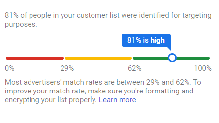 "New ""match rate"" interface for Customer Match"