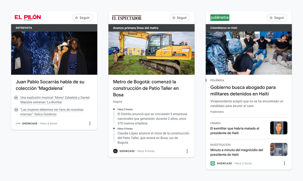 Examples of what story panels look like for people using News Showcase in Colombia.