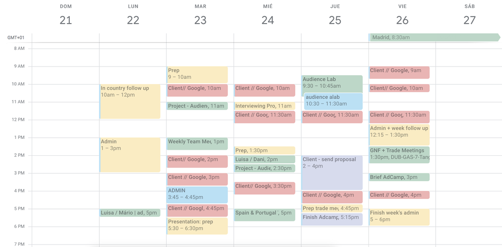 Screenshot of Luisa'a work calendar.