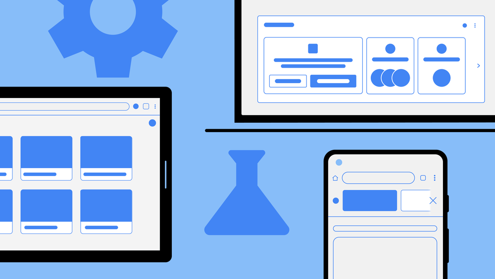 Wireframe designs illustrating in-development Chrome features.