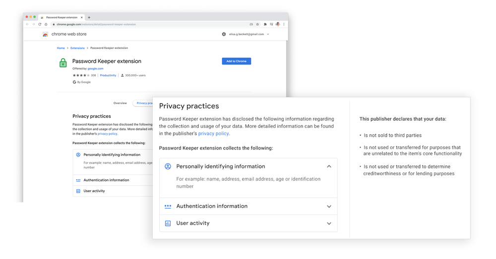 "Image showing user interface for Chrome extension ""privacy practices"" feature"