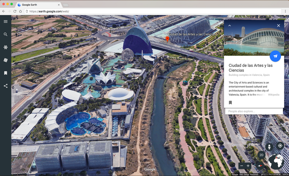 Screenshot der Ciudad de las Artes y Las Ciencias in Valencia, Spanien, in Google Earth.