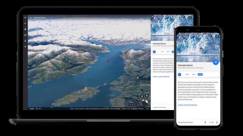 Ansicht des Columbia-Gletschers auf einem Laptop und einem Smartphone aus der Google-Earth-Perspektive.