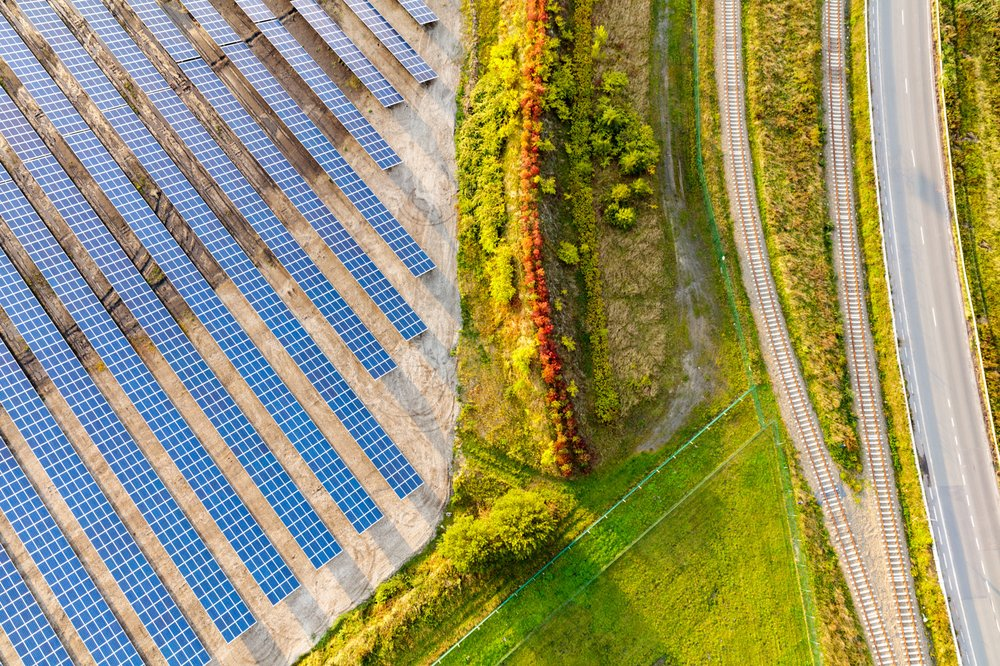 Bird's view of a solar park