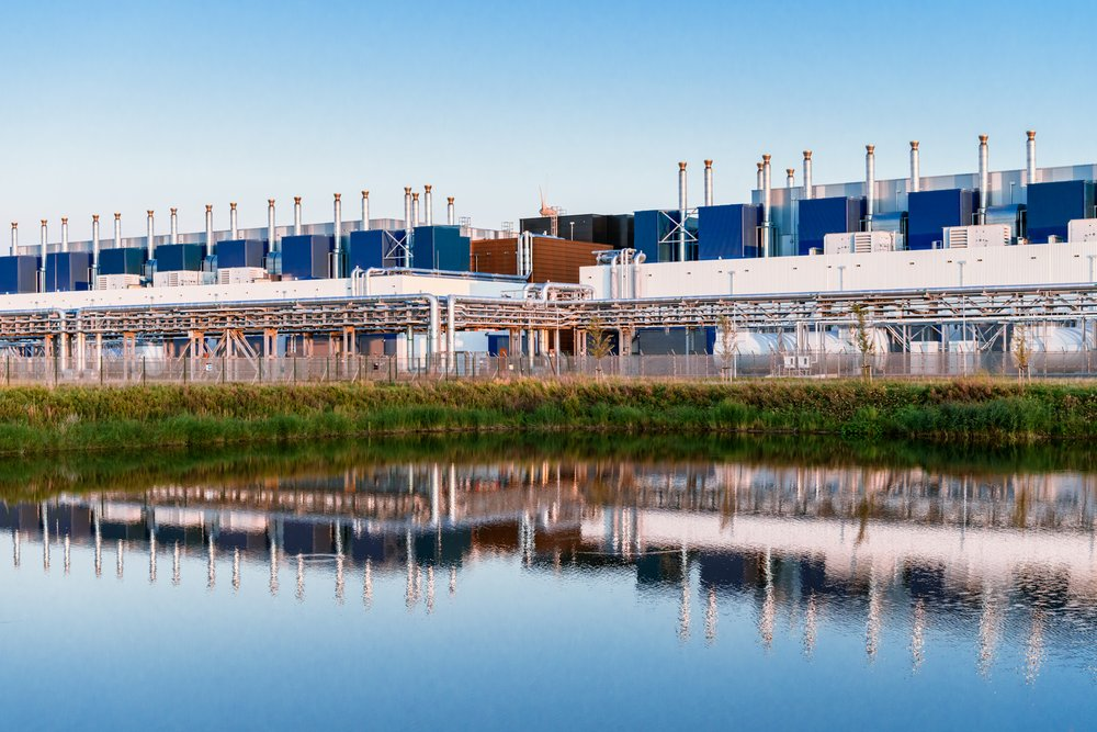 Our Eemshaven, Netherlands data center reflected in water