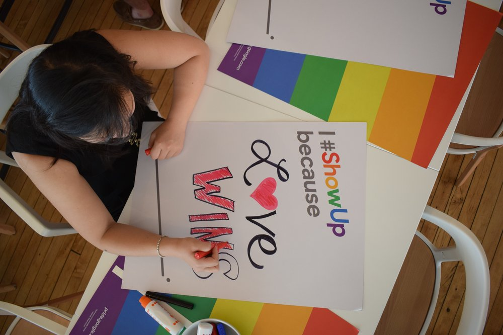 Creating LGBTQ+ Pride signs at Google