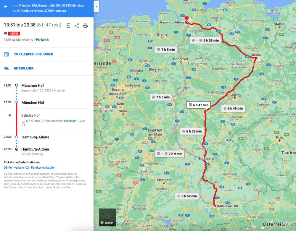Ein Screenshot zeigt eine Route mit der Deutschen Bahn in Google Maps