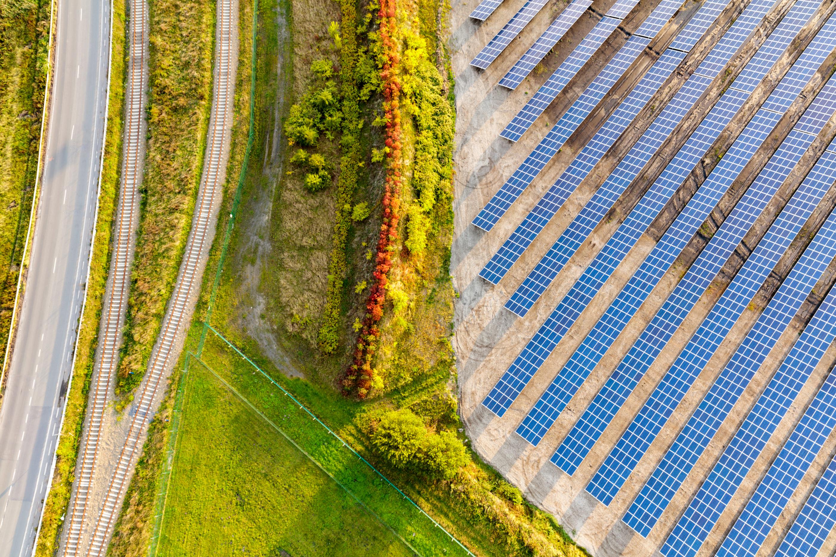 Google solar field in Saint Ghislain, Belgium (aerial)