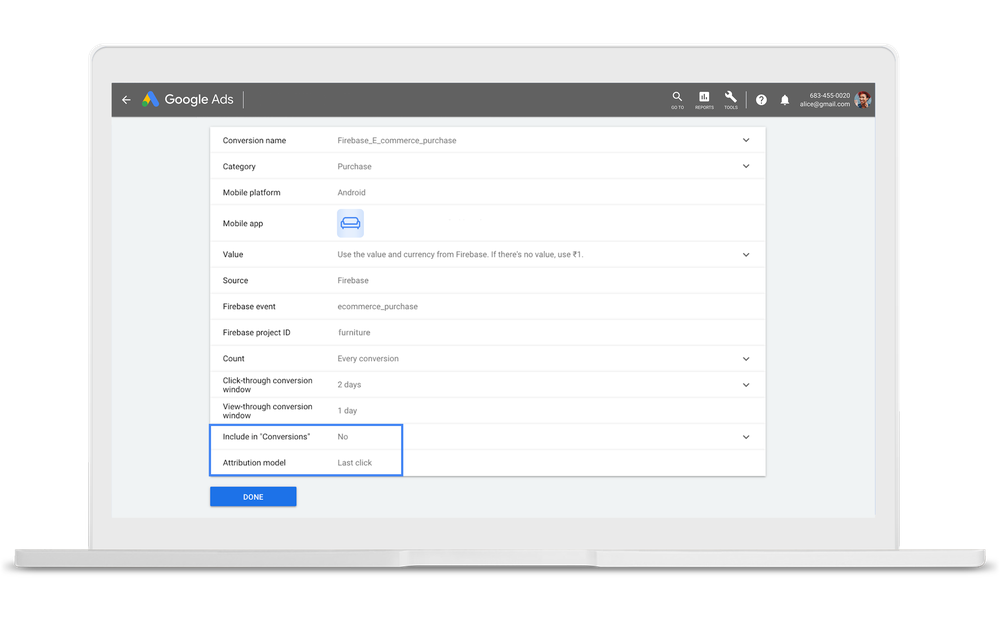 Google Ads interface where you can assign credit to the actions that drove your conversions across web and apps.