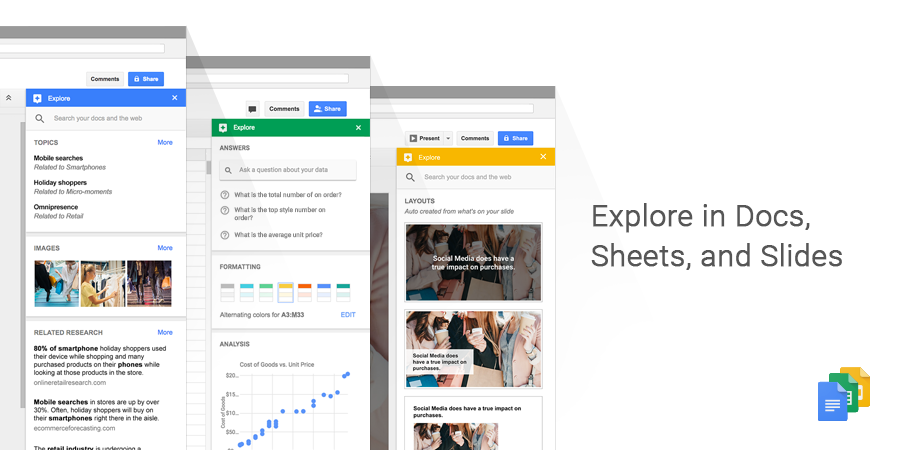 Google Docs, Sheet en Slides