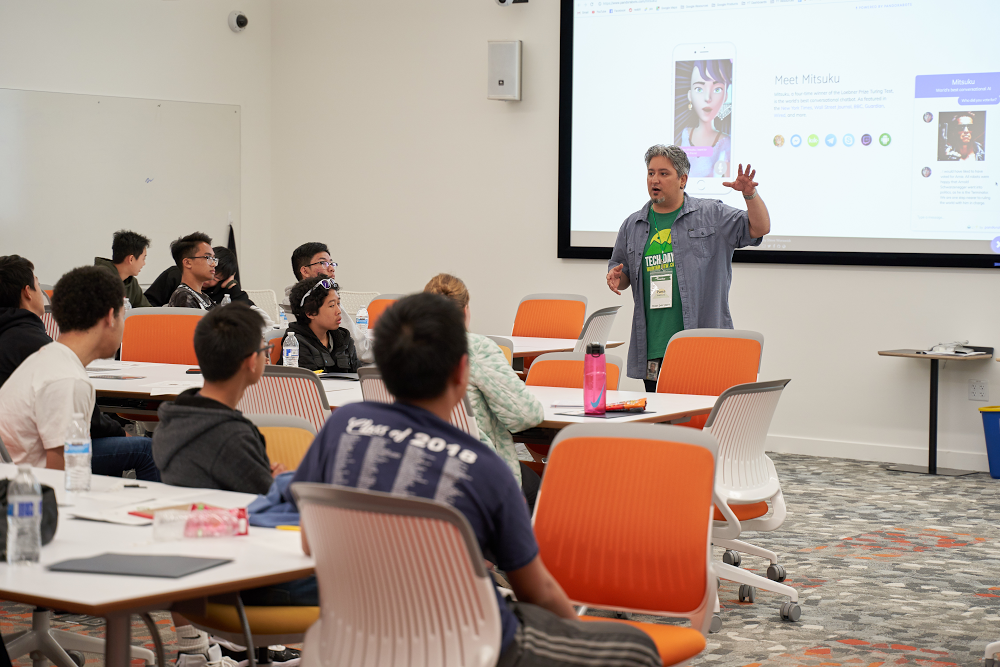 Students learn technology at Google's Tech Day event.