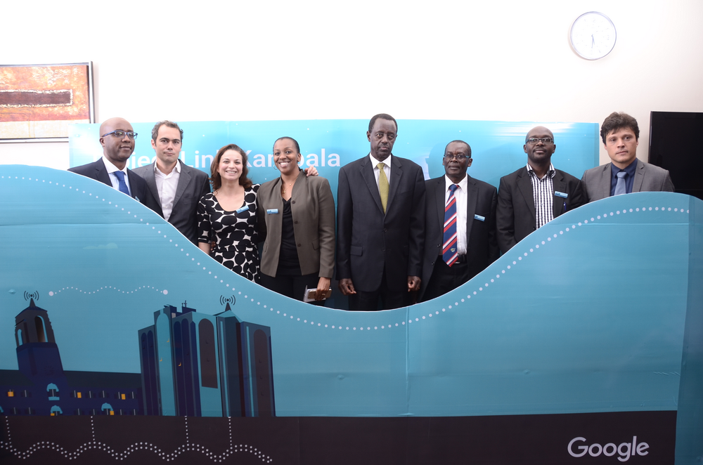 Suzan Kitariko, Country Manager for Uganda with Uganda's Minister of Communications, John Nasasira along with partners and Googlers.