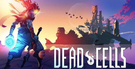 A promotional image from the video game Dead Cells, featuring a person with a sword with their back turned.